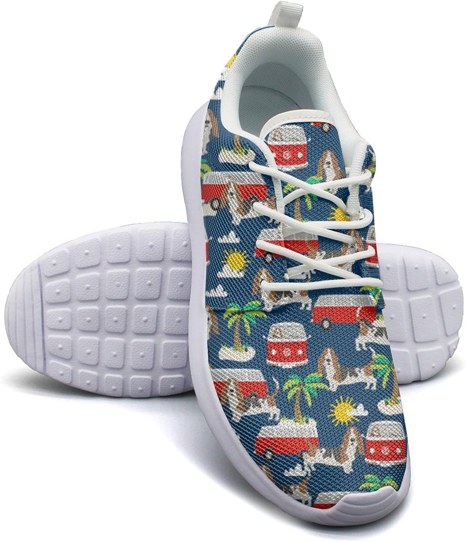 ERSER Basset Hound Dog Beach Dog Palm Tree Cute Running shoes for Women