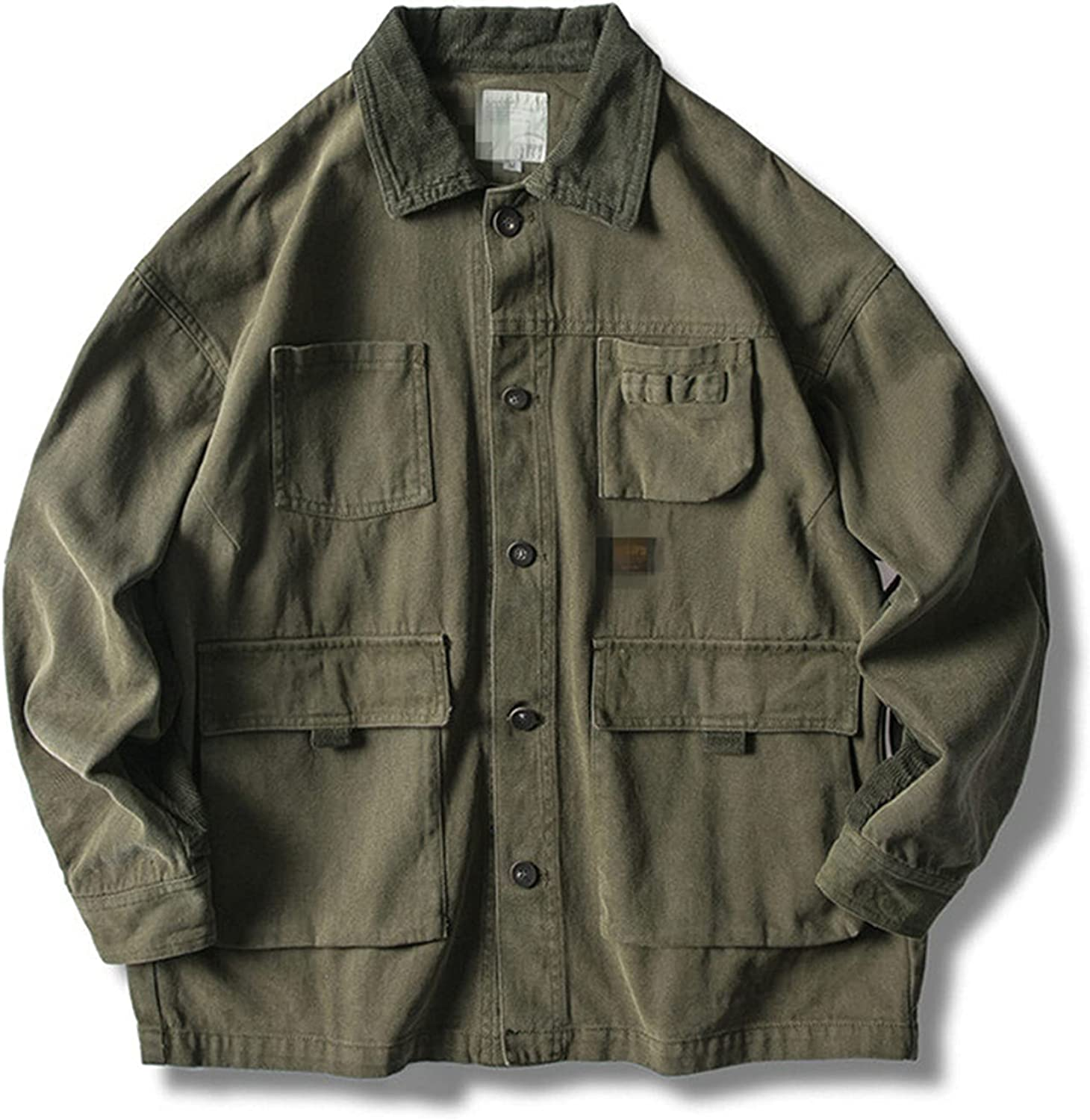 Men's Long Sleeve Retro Military Jacket,Outdoor Solid Color Casual Multi-Pocket Outerwear, Classic Anorak