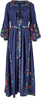 Boho Bird Womens Maxi Dresses Charmed by You Embroidered Maxi Dress Chambray