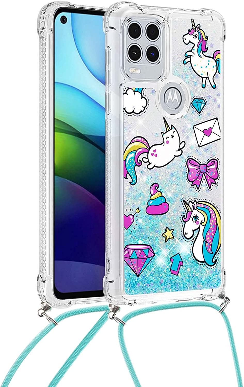 Classic Charm Designed for Moto G Stylus (2021) 5G Case, Moto G Stylus 5G Case for Women Crossbody Case Bling Glitter Phone Cover with Lanyard Cord Strap-7