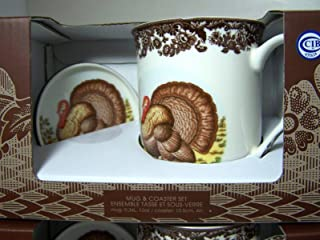 Spode Woodland Ceramic Mug and Coaster Set, Turkey