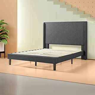 Zinus - Marcus - Upholstered Wingback Platform Bed / Mattress Foundation / Easy Assembly / Strong Wood Slat Support, King