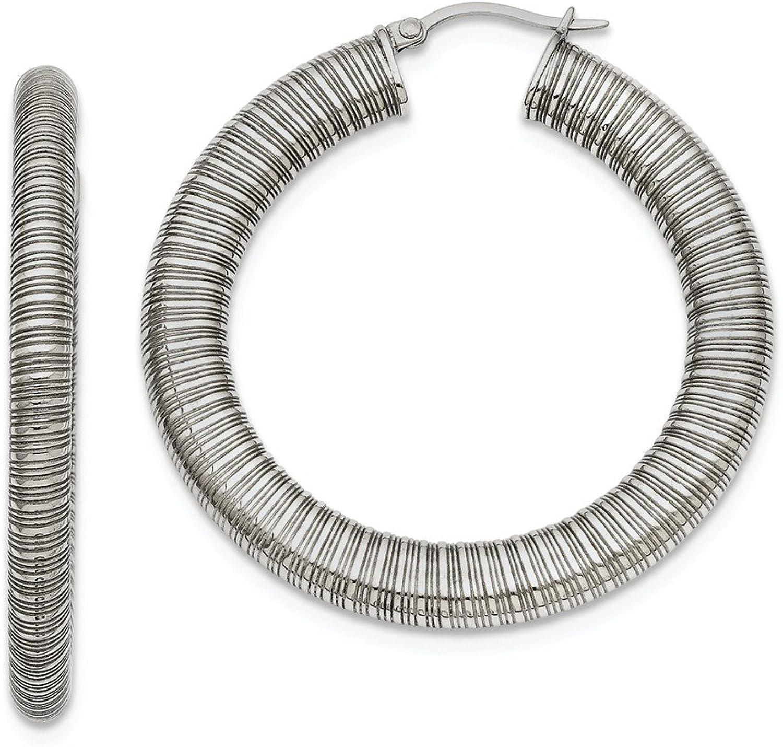Beautiful Stainless Steel Textured Hollow Hoop Earrings