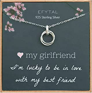 EFYTAL Girlfriend Gifts, Girlfriend Birthday Gift Ideas For Her, Romantic Sterling Silver 925 Studded Ring Interlocking Circles Necklace Jewelry for Women, Cute Anniversary / Valentines Day Present