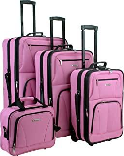 Rockland Journey Softside Upright Luggage Set, Pink, 4-Piece (14/19/24/28)