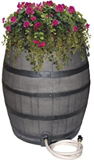 Emsco Group 2244-1 Rescue 50-Gallon Black Bands – Includes Planter, Water Diverter, Outlet Hose – Flatback Design 50 Gallon Whiskey rain Barrel, Gray with Painted
