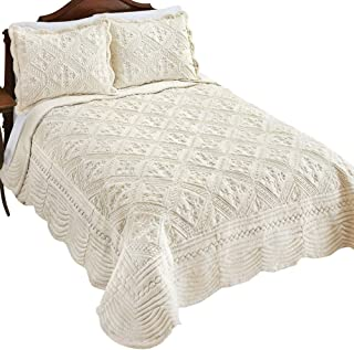 Collections Etc Faux Fur Quilt with Gorgeous Intricate Diamond Pattern, Raised Soft Texture Decorative Accents, Ivory, Full/Queen