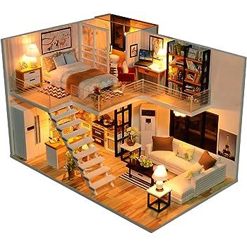 CUTEBEE Dollhouse Miniature with Furniture, DIY Dollhouse Kit Plus Dust Proof and Music Movement, 1:24 Scale Creative Room Idea