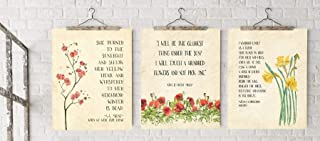 Poetry Quote Floral Art Print Set. Inspirational Quote Prints Featuring William Wordsworth, Edna St. Vincent Millay and A. A. Milne for Home, Nursery, Classroom or Library