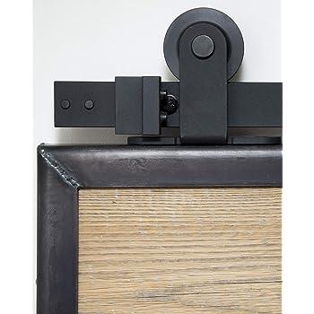 Sistema de puerta corredera superior de 200 cm. Juego completo con ruedas y riel. Sistema de puerta corredera superior de 2 metros - Top black: Amazon.es: Bricolaje y herramientas
