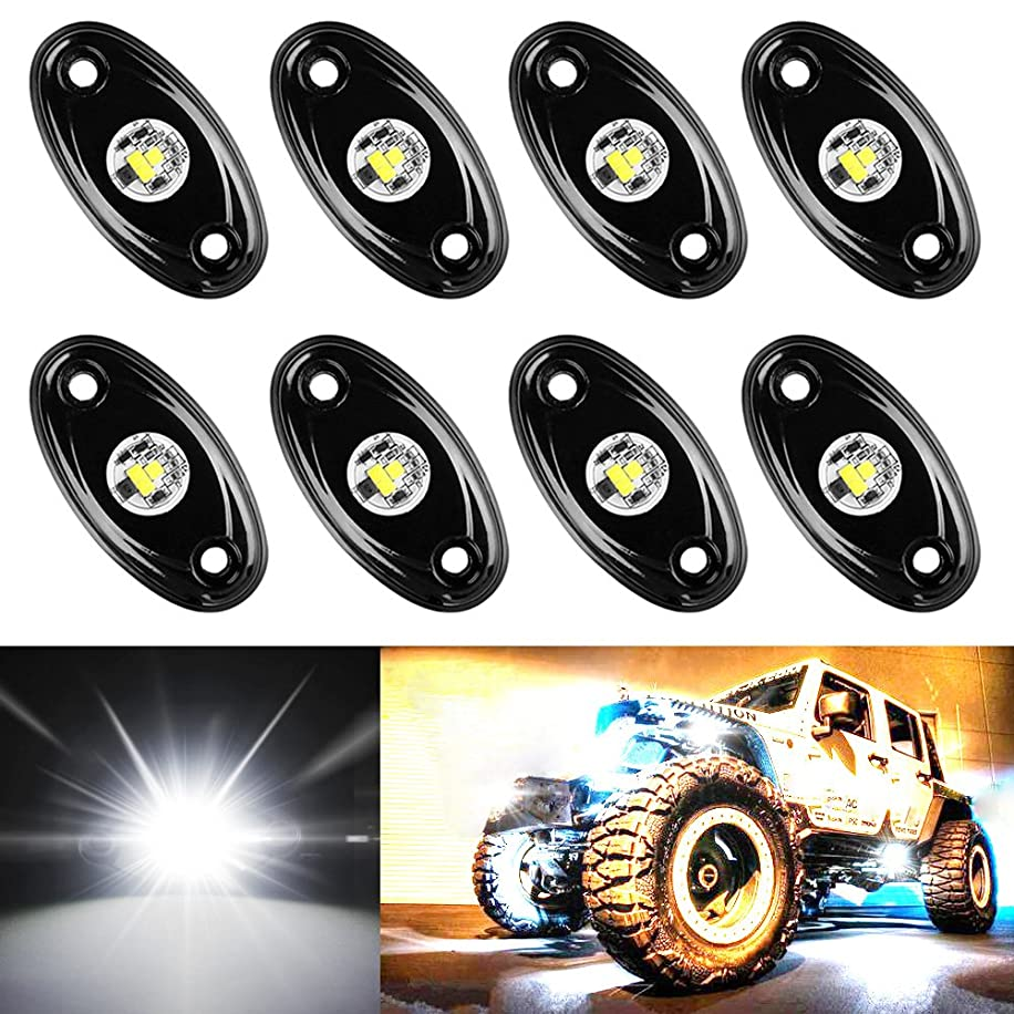 Amak 8 Pods LED Rock Lights Kit White Underbody Glow Trail Rig Light Waterproof Underglow LED Neon Lights for JEEP Off Road Trucks Car ATV SUV Vehicle Boat - White