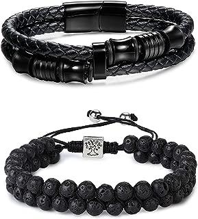 2 Pcs Lava Rock Essential Oil Diffuser Beads Bracelet Leather Bracelet Set Men/Women Stainless Steel Magnetic Clasp Adjustable- Diffuser Bracelets