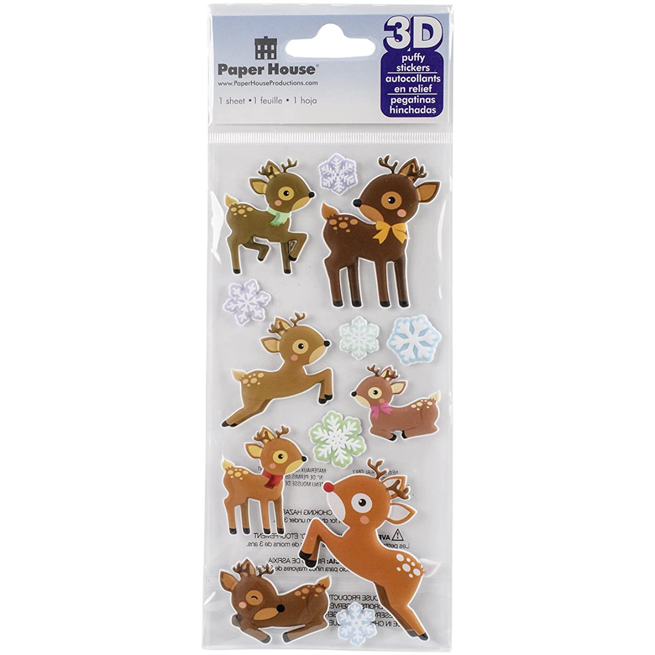 Paper House Productions STP-0027E Reindeer Puffy Stickers (3-Pack)