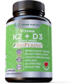 K2 D3 Vitamin Supplement With BioPerine - Vegan Calcium Supplements With Vitamins K And D - Advanced D3K2 Vit 5000 IU Form...