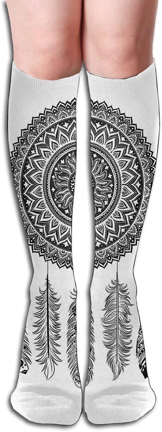 Compression High Socks-Ethnic Dream Catcher With Blooming Foliage Leaves With Hanging Aztec Quills Best for Running,Athletic,Hiking,Travel,Flight 8.5 x 50cm