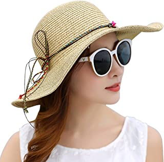 SHYPwM-Hats Ladies Straw Women´s Summer Sun Hat, Foldable Cap Floppy Wide Brim Summer Beach Hats (Color : A, Size : One Size)