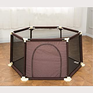FJFSC Baby Child Play Fence Baby Crawling Mat Toddler Fence Indoor Playground Child Safety Fence (Color : Brown)