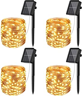 [4 Pack]Solar Fairy Lights Outdoor, 12m 120LED Solar String Lights Waterproof 8 Modes Copper Wire Decorative Solar Powered...
