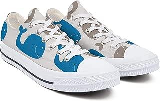 YUIlili Women Designer Low Top Lace Up Sneaker Fashion Comfortable Canvas Shoes Flats Walking