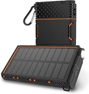 OUTXE Solar Power Bank 10000mAh Rugged Solar Charger Waterproof with Led Flashlight (Orange)