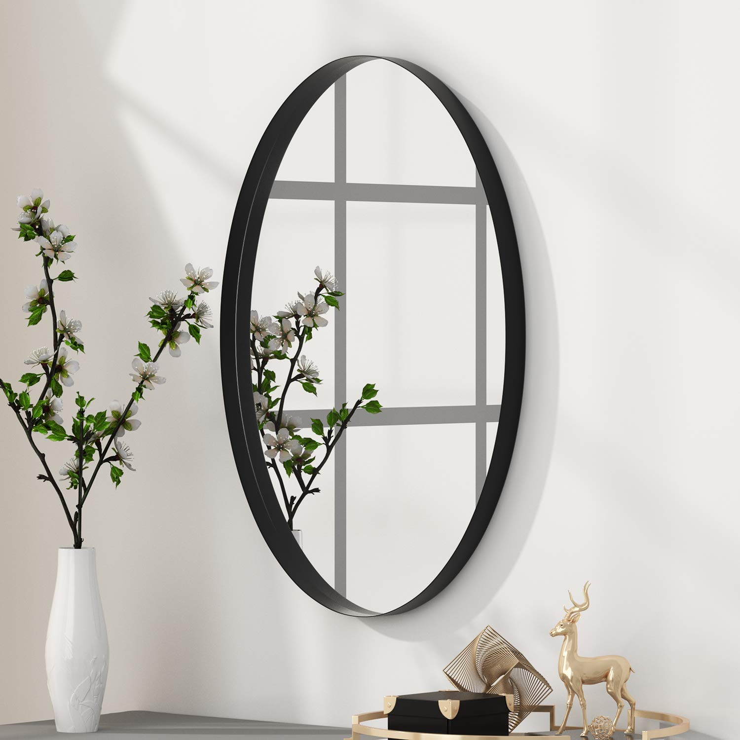 Entryway Bedroom NXHOME Oval Black-Bathroom Decorative Wall Mirror Living Room Wall-Mounted 24X36in Clean Decor Stainless Steel Framed Mirrors for Vanity