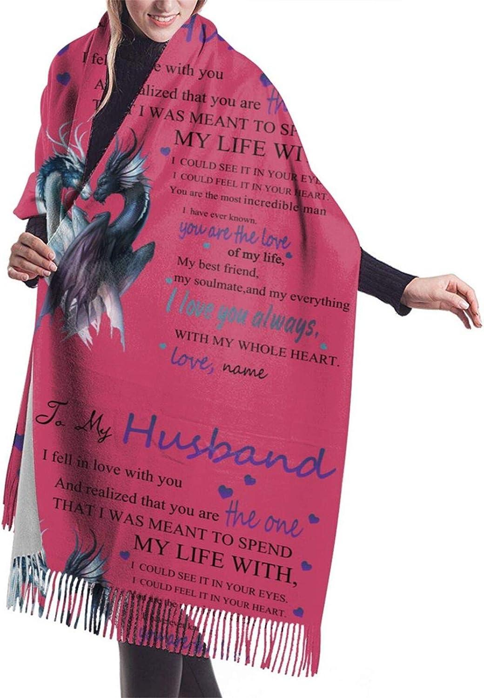 To My Dear Husband Cashmere Feel Scarf Lightweight Soft Scarfs For Boys Girls Creative Warm Cold Weather Blanket Scarf