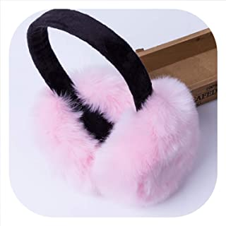 Fashion Rabbit Fur Earmuffs For Women Winter Earmuffs Warm Fur Ear Warmer Ear Cover For Girls Solid Color Earmuffs,C
