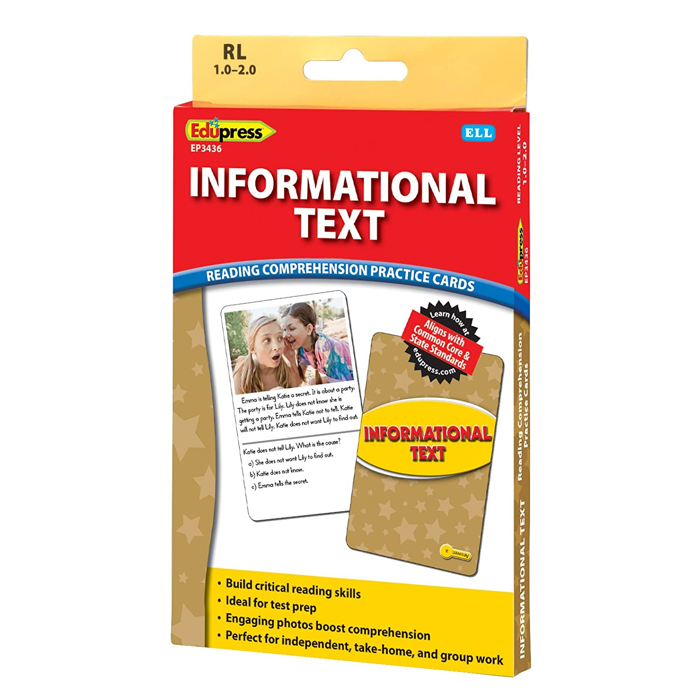 Edupress Reading Comprehension Practice Cards, Informational Text, Yellow Level (EP63436)