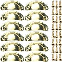 LINVINC 12St Messing Deurgrepen Intern, Vintage Metalen Meubelen Handvat Vintage Kast Antieke Decoratie,Geel