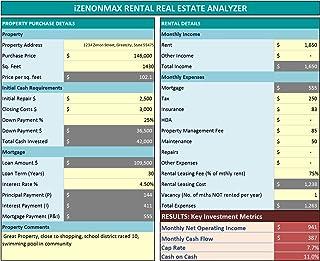 iZenonMax Residential Real Estate Analyzer Excel Tool