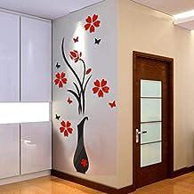 2021 nuevo ramo de rosas pegatinas de pared DIY florero árbol de flores arco de cristal 3D pegatinas de pared decoración d...
