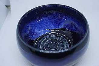 Handmade Black with Blue Pottery Shaving Bowl for Men