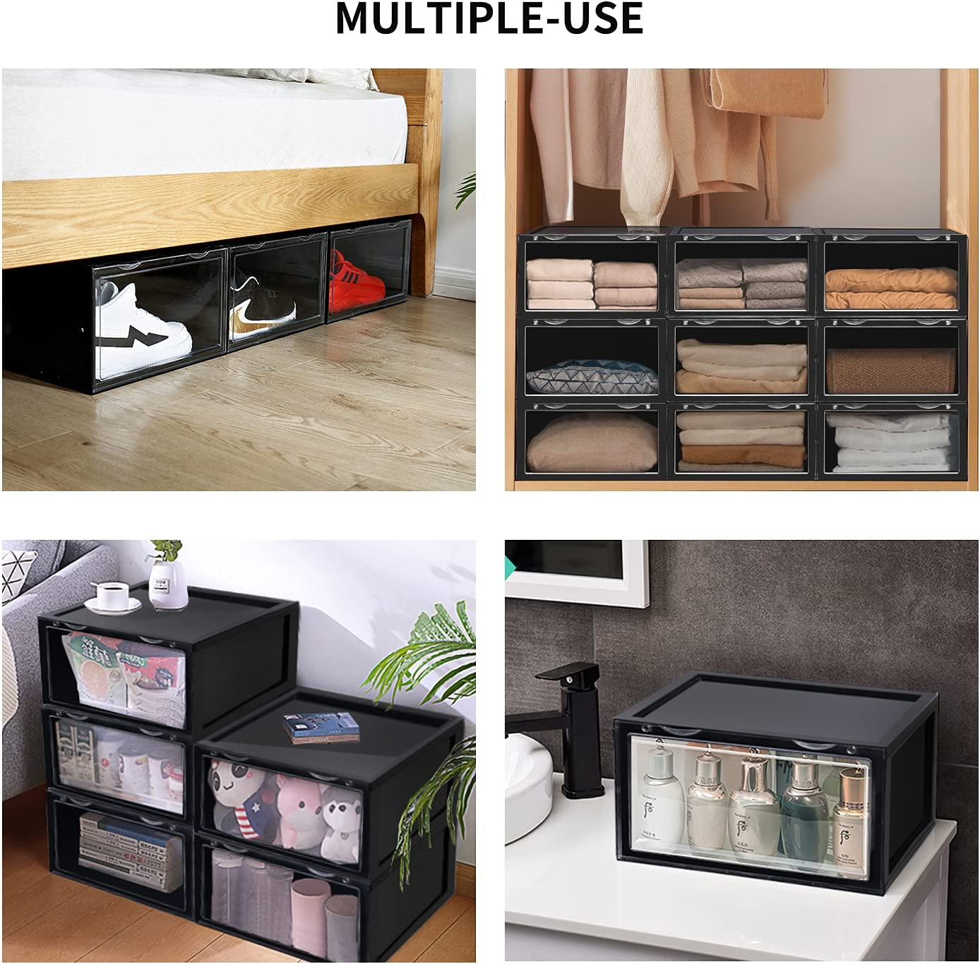 Buy Shoe Storage Box, 20 Pack Stackable Shoe Organizer Bins With ...