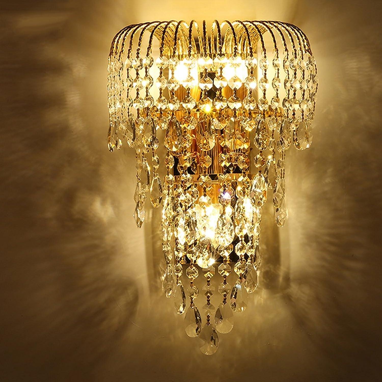 MILUCE Luxus k9 Kristallwand führte Gold Wohnzimmer Schlafzimmer Nachtwandlampe im europischen Stil Restaurant-Beleuchtung
