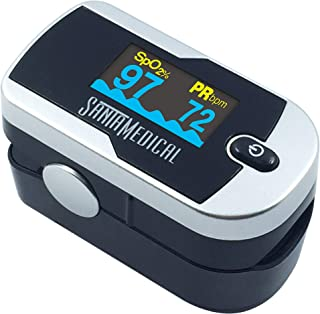 Santamedical Generation 2 Fingertip Pulse Oximeter Oximetry Blood Oxygen Saturation Monitor with Batteries and Lanyard (Silver)