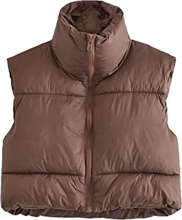 Himosyber Women's Cotton Padded Vest Puffer Stand Collar Sleeveless Crop Top Gilet
