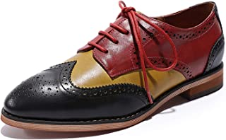 Mona flying Womens Leather Perforated Lace-up Oxfords Brogue Wingtip Derby Saddle Shoes for Girls ladis Womens