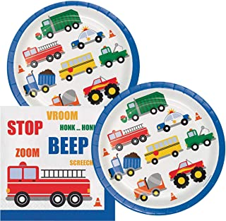 Traffic Jam Birthday Lunch Napkins & Plates Party Kit for 16 Guests