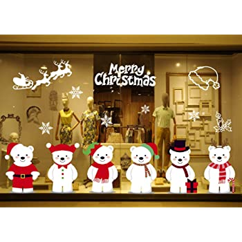 heekpek Navidad la Decoración Pegatinas de Pared Decorativos Pegatina de Muñecos de Nieve Pegatina Oso Navidad Seis Osos Ventana de Navidad Decoración de Ventana Etiqueta Engomada del Copo de Nieve