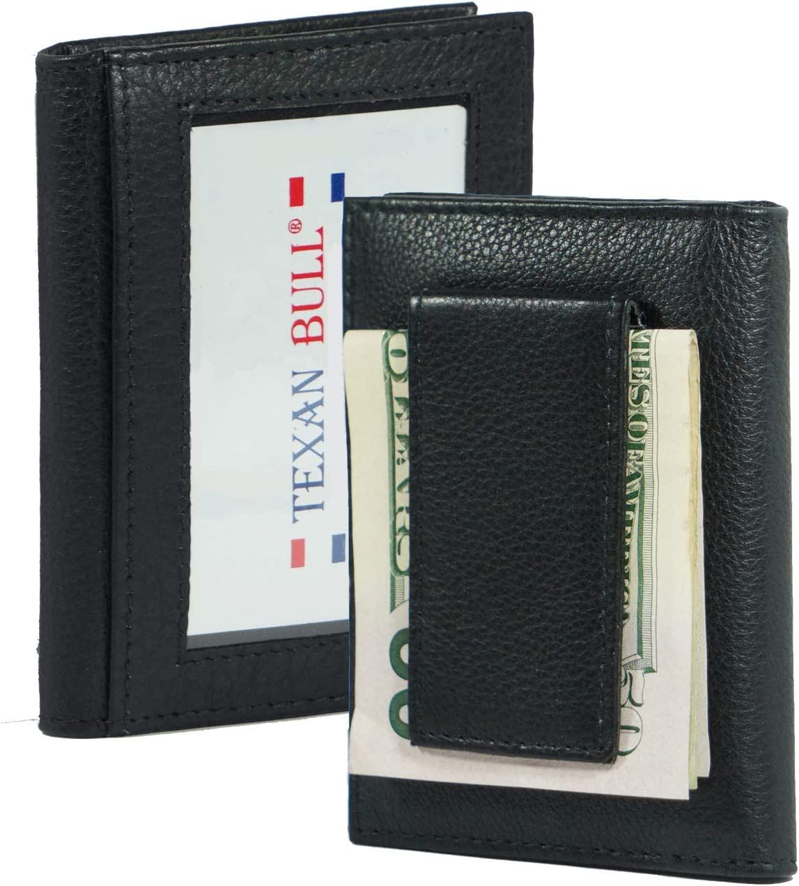 Leather Bifold Magnetic Money Clip Slim Thin Credit Card Slots-ID Holder Front Pocket Black minimalist mens wallet