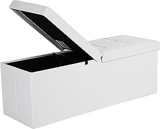 comprar comparacion SONGMICS Baúl Puff Taburete para almacenaje Plegable Carga Máxima de 300 kg Blanco 110 x 38 x 38 cm LSF75WT