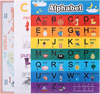 NUOBESTY Educational Preschool Posters For Toddlers And Kids, Wall Chart Poster Kids Learning Posters For Nursery Kinderga...