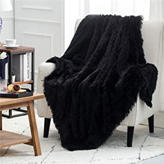 Bedsure Faux Fur Reversible Sherpa Throw Blanket for Sofa, Couch and Bed - Super Soft Fuzzy Fleece Blanket for Outdoor, Indoor, Camping, Gifts (50x60 inches, Black)