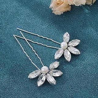 Unicra Rhinestone Bride Wedding Silver Hair Pins Pearl Bridal Hair Accessories Crystal Hair Piece for Women and Girls (2 Pcs)