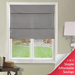 Chicology Cordless Magnetic Roman Shades / Window Blind Fabric Curtain Drape, Light Filtering, Privacy - Daily Grey, 36