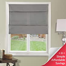 Chicology Cordless Magnetic Roman Shades / Window Blind Fabric Curtain Drape, Light Filtering, Privacy - Daily Grey, 31