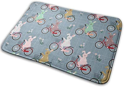 Rabbits Colorful Bicycle Carpet Non-Slip Welcome Front Doormat Entryway Carpet Washable Outdoor Indoor Mat Room Rug 15.7 X 23.6 inch