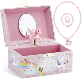 Musical Jewelry Glitter Storage Box and Jewelry Set for Little Girls with Spinning Unicorn and Rainbow - Over the Waves Tu...