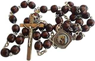 St Saint Anthony Chaplet Wooden Wood Rosary Christian Catholic Rosaries 14.2 inc
