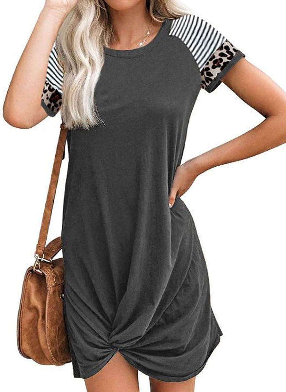ROSKIKI Womens Summer Casual Short Sleeve Tie Knot T-Shirt Mini Dress